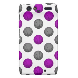 Purple and Silver Gray Basketball Pattern Droid RAZR Case
