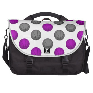 Purple and Silver Gray Basketball Pattern Computer Bag