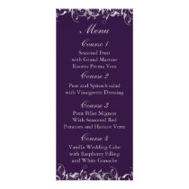 purple and silver gray wedding menu cards