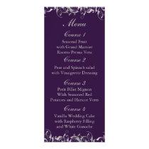 purple and silver gray wedding menu cards