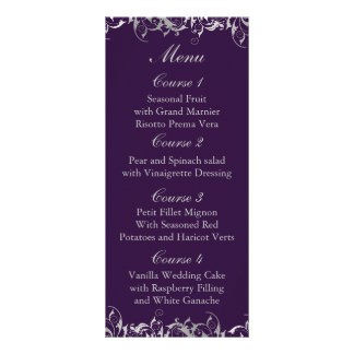 purple and silver gray wedding menu cards custom rack card