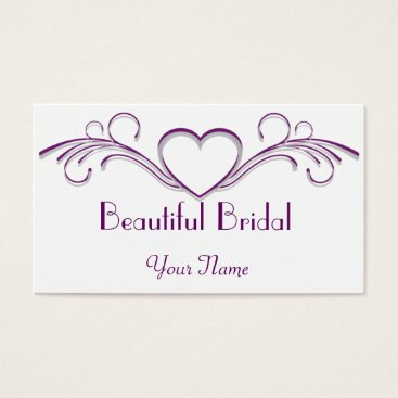 Professional Business Purple and Silver Heart Scroll Business Card