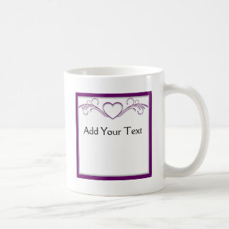 Purple and Silver Heart Scroll Classic White Coffee Mug