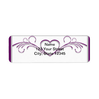 Purple and Silver Heart Scroll Return Address Label