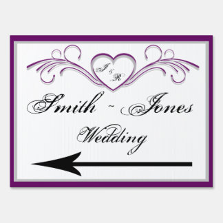 Purple and Silver Heart Scroll Monogram Direction Sign