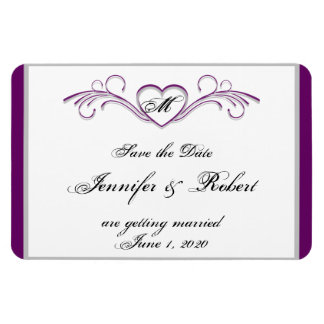 Purple and Silver Heart Scroll Monogram Save the D Magnets
