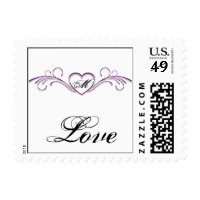 Purple and Silver Heart Scroll Monogram Wedding Postage