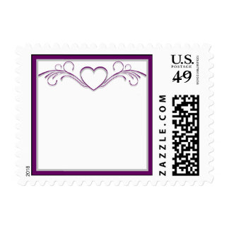 Purple and Silver Heart Scroll Postage