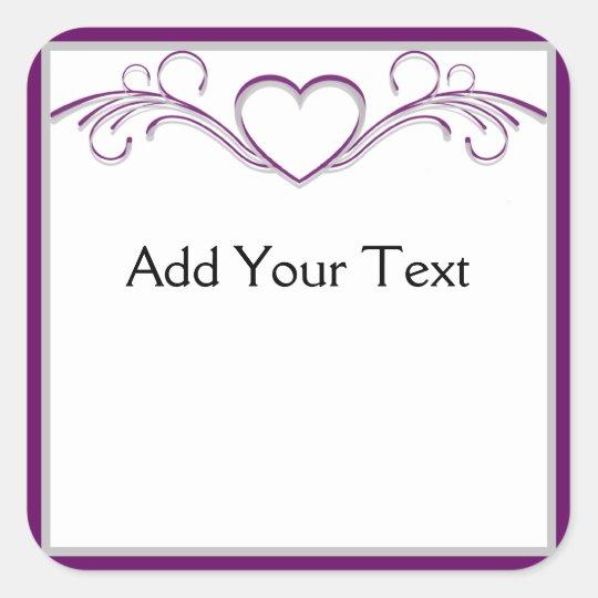 Purple and Silver Heart Scroll Square Sticker