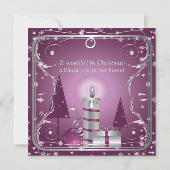 Purple and Silver Holiday Invitation