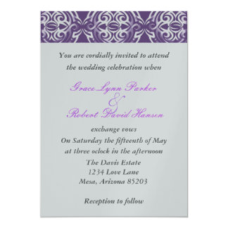 Purple and silver Invitation