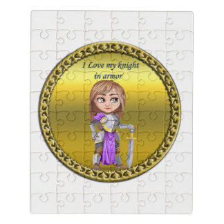 Purple and silver knight in her armor and sword jigsaw puzzle