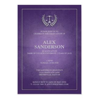 Purple and Silver Law School Graduation 5x7 Paper Invitation Card