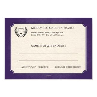 Purple and Silver Legal/Law School Graduation RSVP 3.5x5 Paper Invitation Card