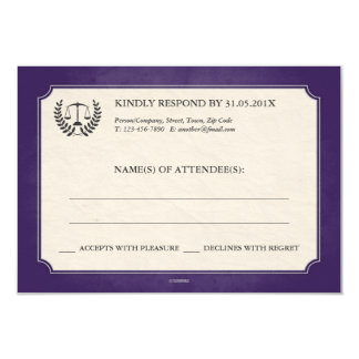 Purple and Silver Legal/Law School Graduation RSVP 3.5x5 Paper Invitation Card