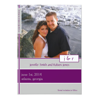 Purple and Silver Lined Boxes Save the Date Card