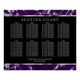 Purple and Silver Marble - 10 Seating Chart