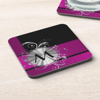 Purple and silver monogram coaster