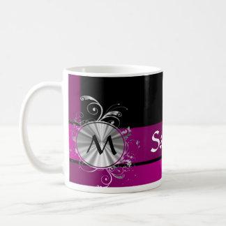Purple and silver monogram coffee mug