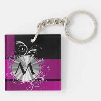 Purple and silver monogram Double-Sided square acrylic keychain