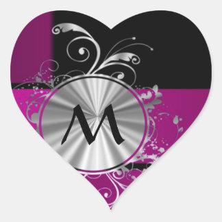 Purple and silver monogram heart sticker