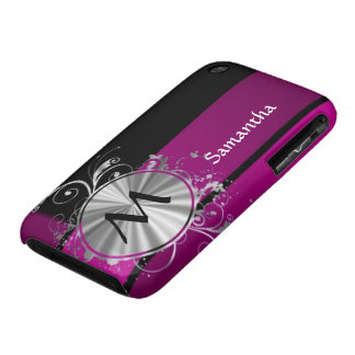 Purple and silver monogram iPhone 3 cases