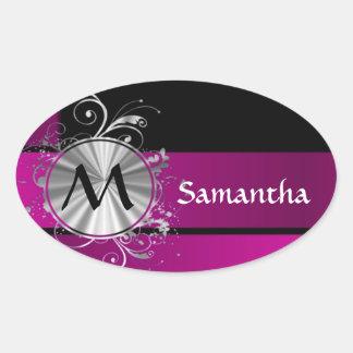 Purple and silver monogram oval sticker