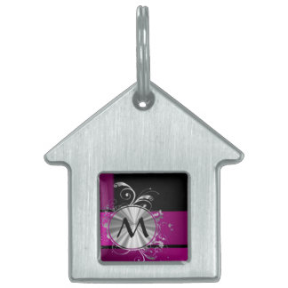 Purple and silver monogram pet name tag