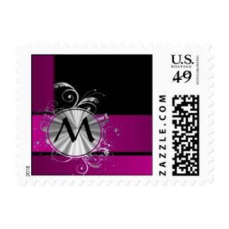 Purple and silver monogram postage stamp