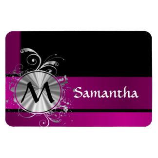 Purple and silver monogram rectangular photo magnet