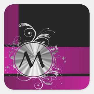 Purple and silver monogram square sticker