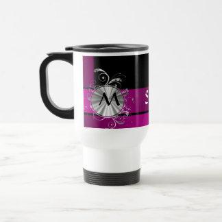 Purple and silver monogram travel mug