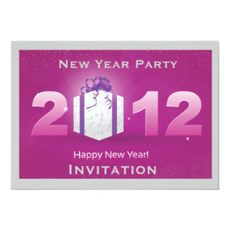 purple and silver new year party invitation
