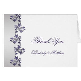 Purple and Silver Ornate Floral Swirls Thank You Stationery Note Card