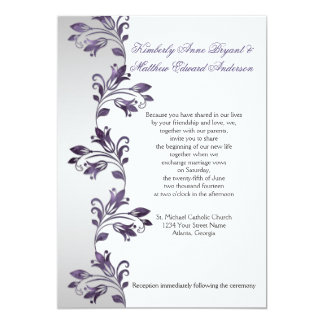 Purple and Silver Ornate Floral Swirls Weddings 5x7 Paper Invitation Card
