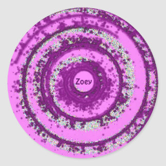 ~ Purple and Silver Pattern ~ Personalised ZOEY ~ Classic Round Sticker