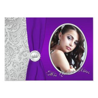 Purple and Silver Photo Quinceanera Invitation
