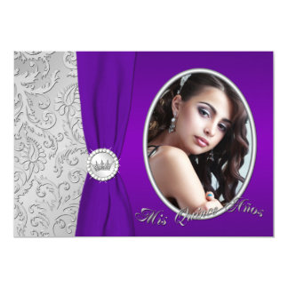 Purple and Silver Photo Quinceanera Invitation