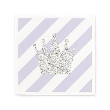 USA Themed Purple and Silver Princess Crown Napkins