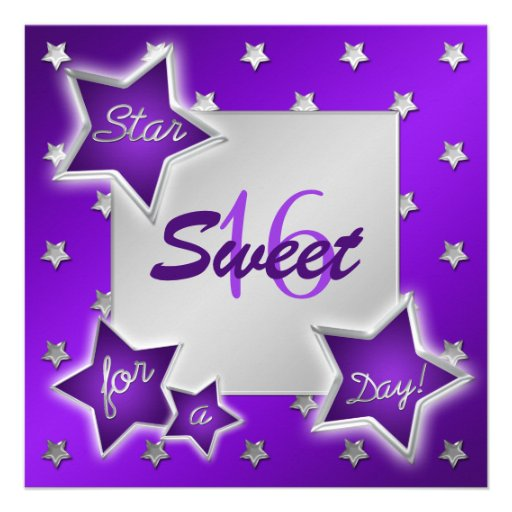 Purple and Silver Stars Sweet 16 Invitation