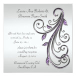 Purple and Silver Swirls on Silver Background Custom Invites