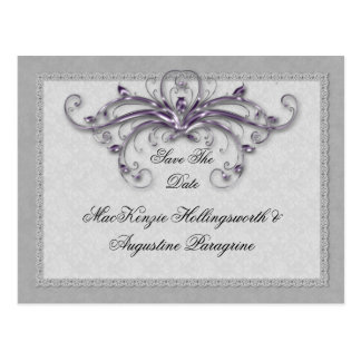 Purple and Silver Swirls Save The Date Postcard