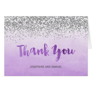 Purple and Silver Thank You Card