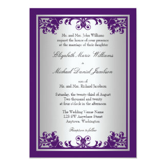 Purple and Silver Vintage Flourish Scroll Wedding Card