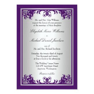 Purple and Silver Vintage Flourish Scroll Wedding Invitation