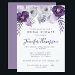 """Purple and Silver Watercolor Floral Bridal Shower Invitation<br><div class=""""desc"""">This invitation has light and dark purple watercolor flowers,  leaves and silver floral elements. The copy is fully editable. You can also change the font. This card has matching invitations,  envelopes,  labels and stamps. Make all your wedding items coordinate!</div>"""