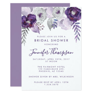 Purple and Silver Watercolor Floral Bridal Shower Invitation