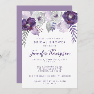 Purple and Silver Watercolor Floral Bridal Shower Invitation
