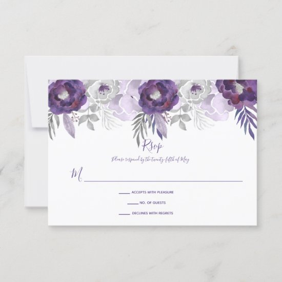 Purple and Silver Watercolor Floral RSVP