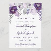Purple and Silver Watercolor Floral Save the Date